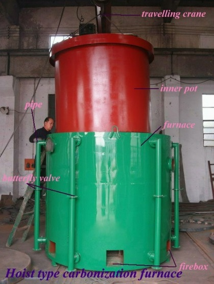 Airflow hoisting type carbonization furnace|Charcoal Carbonized Stove|Charcoal carbonized Equipment|Charcoal briquette machine