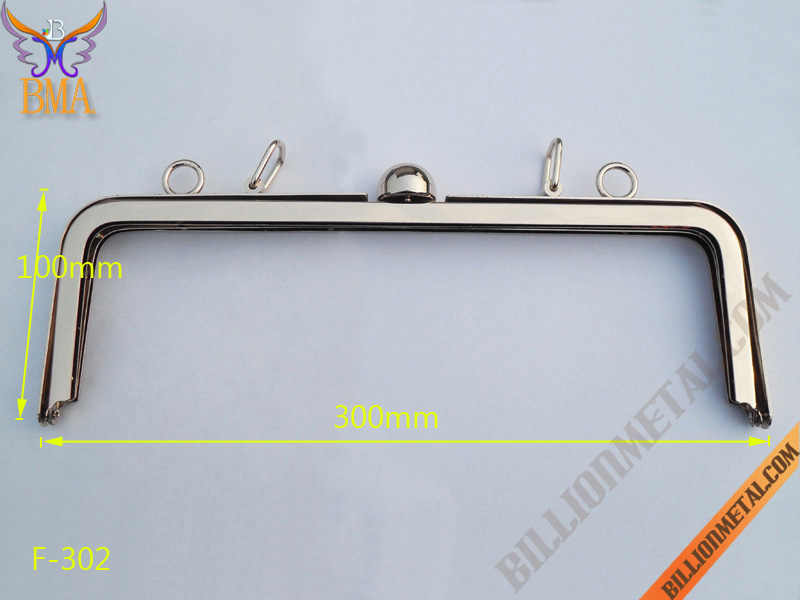 300mm Handbag Shiny Gold Metal Purse Frame(F-302)