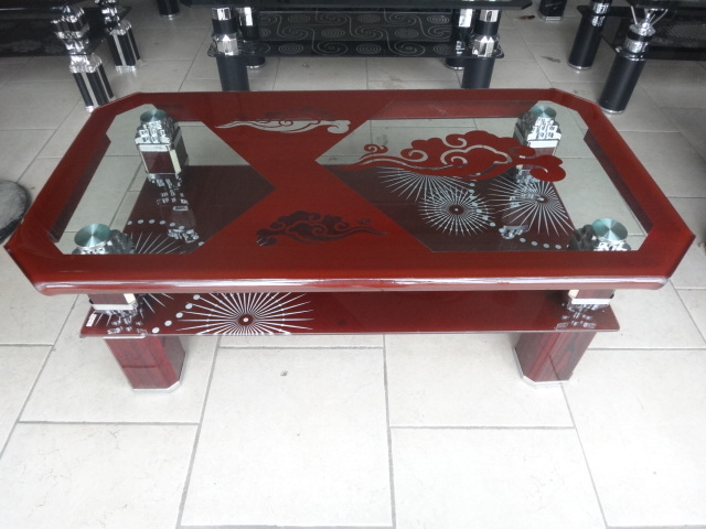 Latest style and popular four sides bending Glass Tables