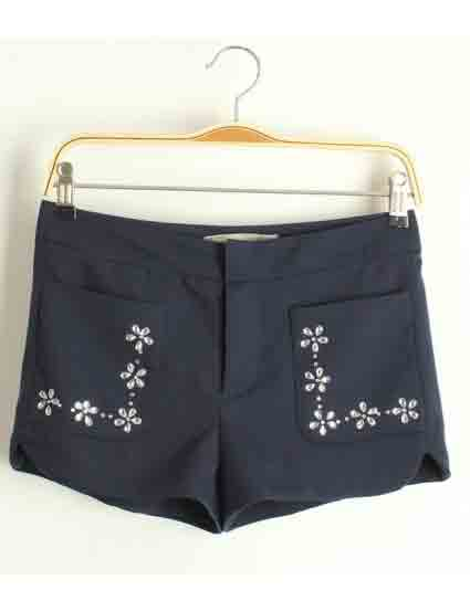 Dark Blue Double Pockets Diamante Short Pants