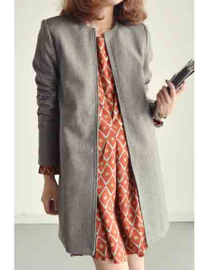 New Fashions Hidden Button Long Wool Suit Coat for Women
