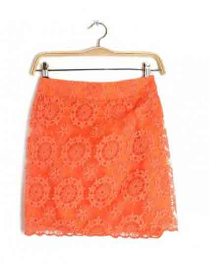 Orange Grenadine Floral High Waist Lace Short Skirt