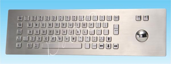 Industrial/Kiosk Metal PC Keyboard With  Trackball