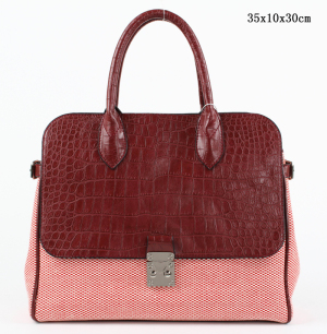Latest Design Fashionable Crocodile Pattern PU Handbag