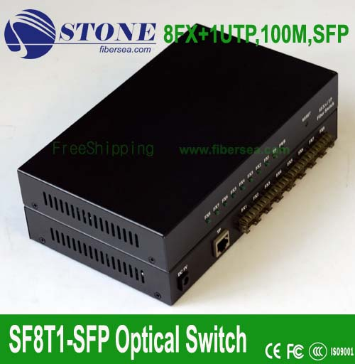 100M 8 SFP +1 RJ45 Ethernet Switch with eight SFP ports
