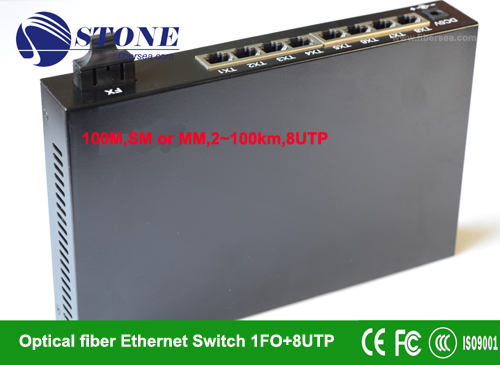 100M Optical ethernet switch,1FX+8UTP