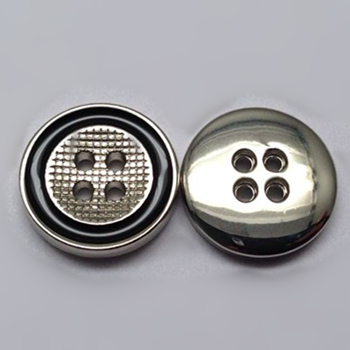 Sewing Button 4 Holes Shiny Nickle With Black Enamel