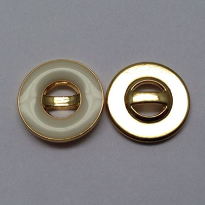 Sewing Button 4 Holes Shiny Gold With Enamel