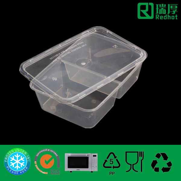 Rectangular Shape PP Food Container with Lid 650ml