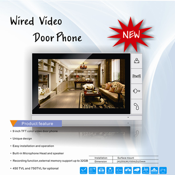 9 inch color TFT audroid video door phone SD card slot Max up to 32GB DP-998R