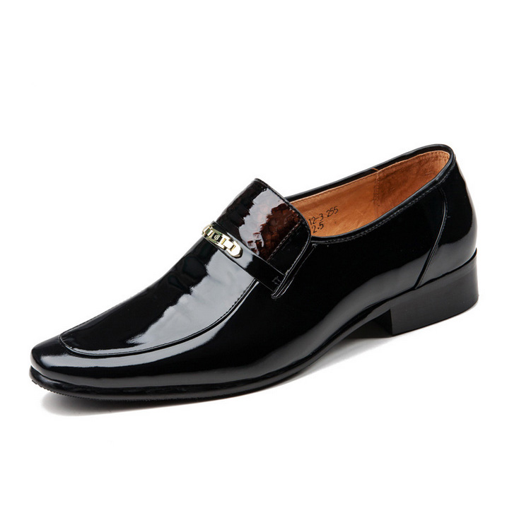 sharp toe formal style genuine leather flat dress shoes for men