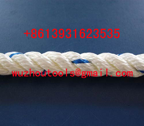 white and red solid braided rope PP 8-strand danline rope