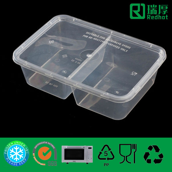 Two Compartments Plastic PP Food Container 650ml