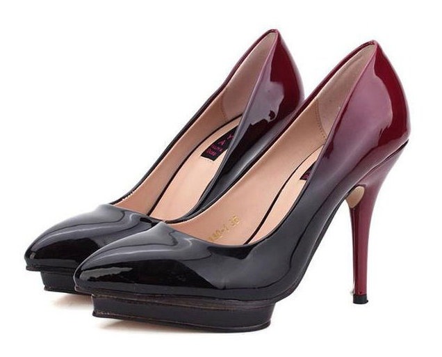 women\'s genuine leather high heel shoes