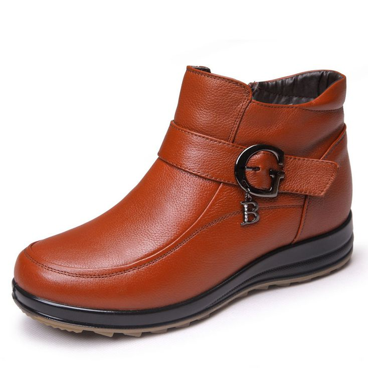 women's genuine leather flat casual boots