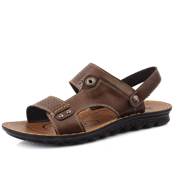 genuine leather open toe flat outdoor casual sandals for boys and mens
