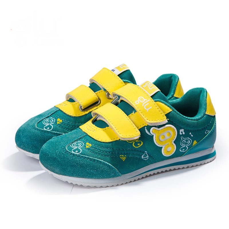 suede leather+PU casual kids sneaker flat rubber sole shoes for childrens