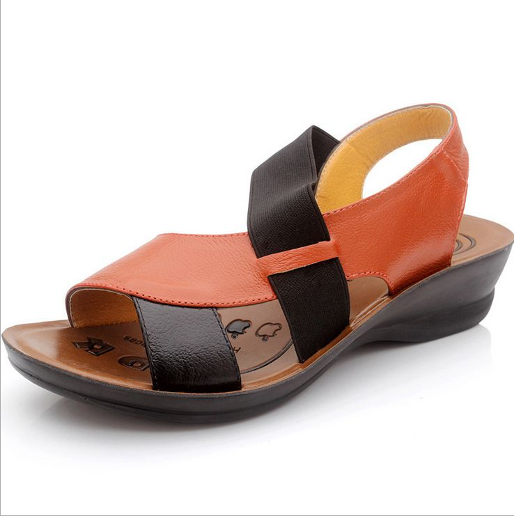 men's genuine leather flat casual sandals