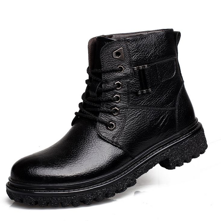 men's genuine leather flat casual boots