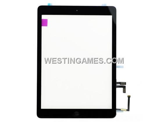 Original New Touch Screen Glass Digitizer Assembly with Home Button for iPad Air - Black (A)