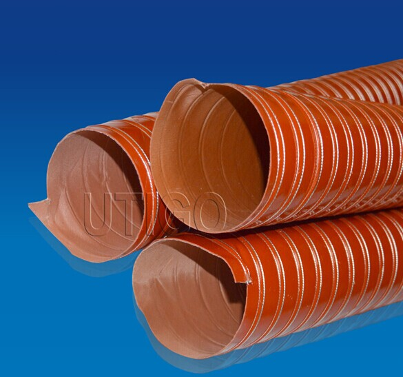 High temperature silicone coated glass fiber duct