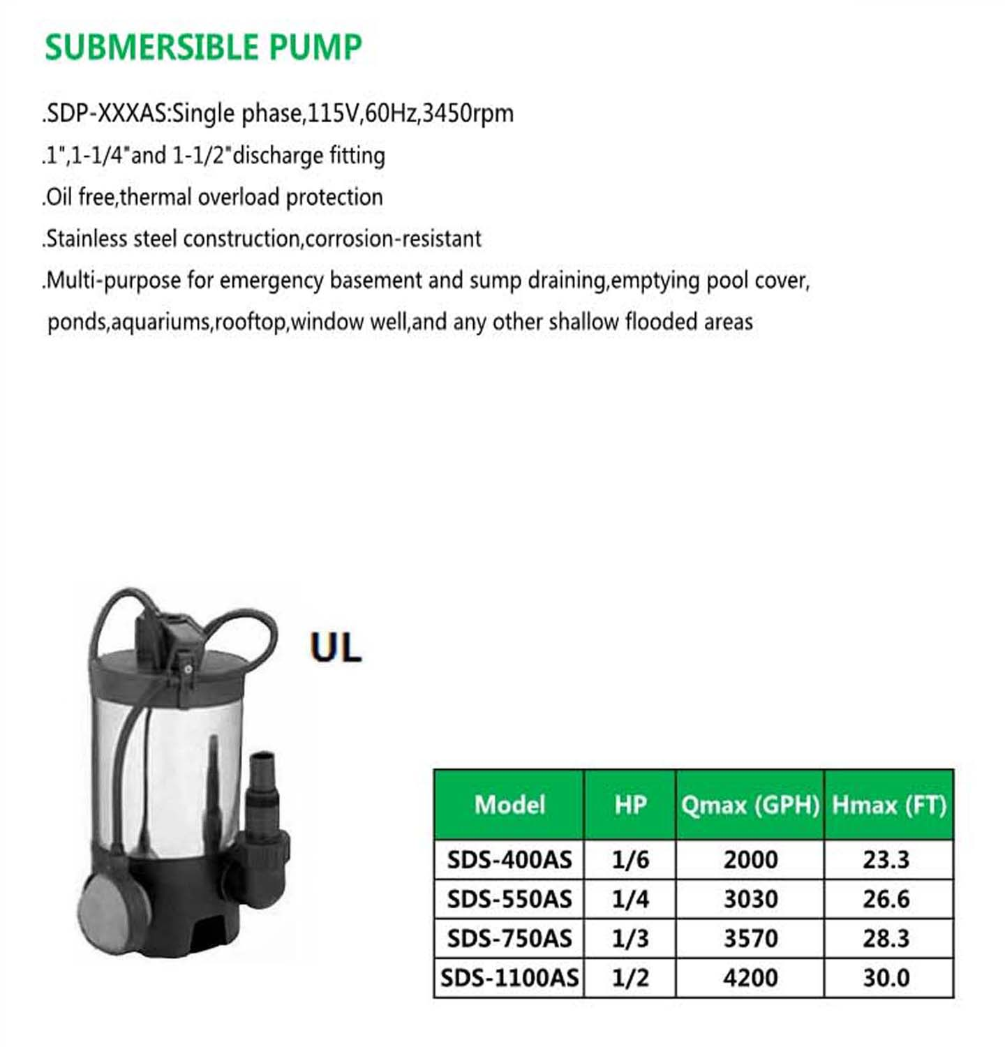 SUBMERSIBLE PUMP SDS-400AS SDS-550AS SDS-750AS SDS-1100AS