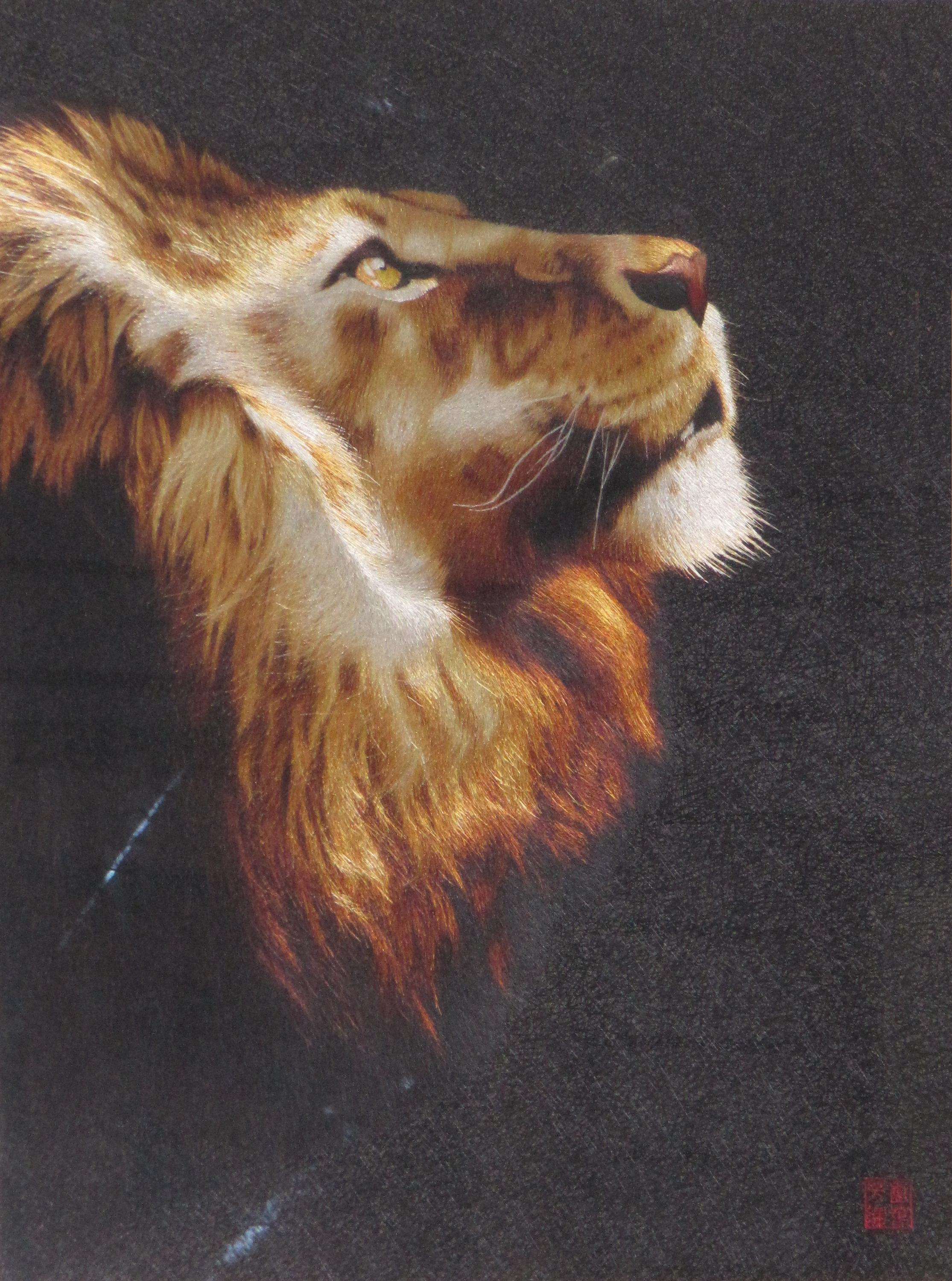 Lion hand embroidery art painting wall decor