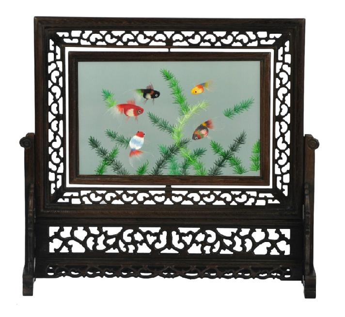 Chinese double-sided hand embroidery screen home decor