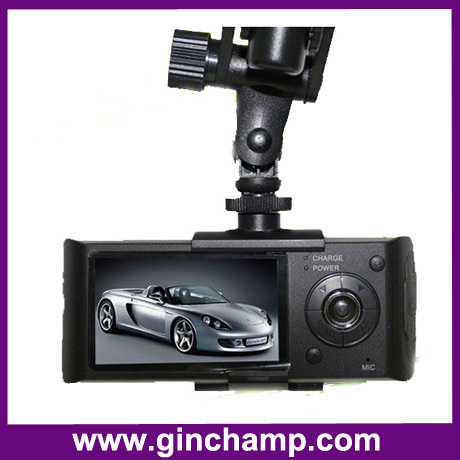 dual camera GPS car camera dvr with 2.7inch LCD