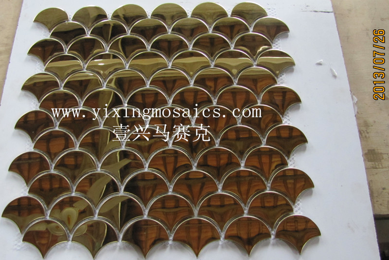 fish scape(fan) shape metal mosaic tile for wall decoration