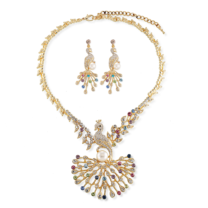 Fashion beauty peacock wedding jewelry set