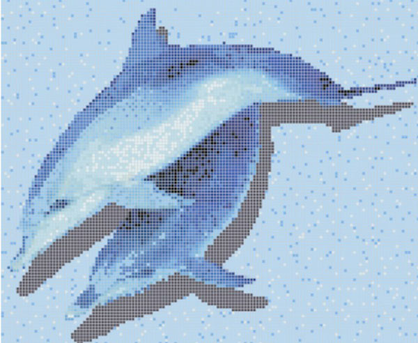 swimming pool mosaic tile-dolphin glass mosaic