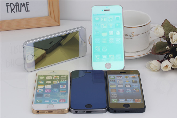 Colorful (transparent, golden, silvery, blue, purple …) tempered glass screen film, screen protector for Iphone5/5S