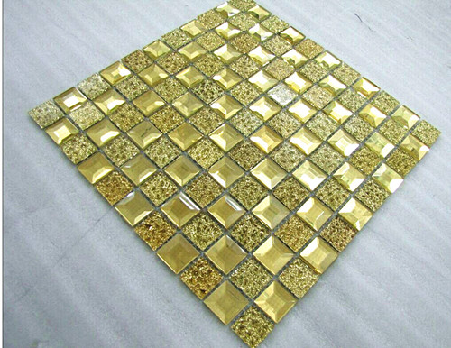 gold color crystal  glass mosaic tile