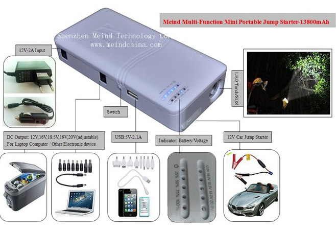 Car Jump Starter MultiFunction Battery Charger Portable Phone USB Power Bank Laptop External Rechargeable Battery