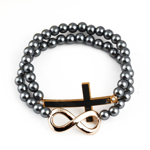 Fashion Alloy Cross And Figure 8 Bicyclic Beads Bracelets