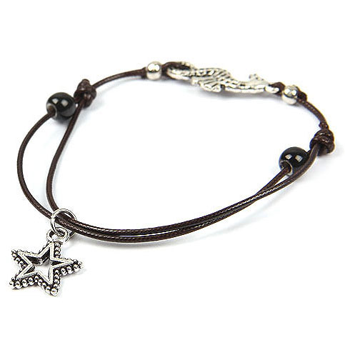 Cheap New Hand-woven Star And Ball Shape Alloy Rope Resin Bracelet with Adjustable Inner Diameter