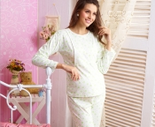 Nursing Tops Long Pants Sets, dot stylish maternity clothes