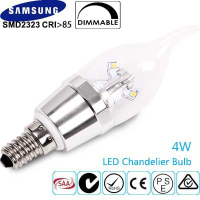 LED Chandelier Dimmable Candle Bulb 4W