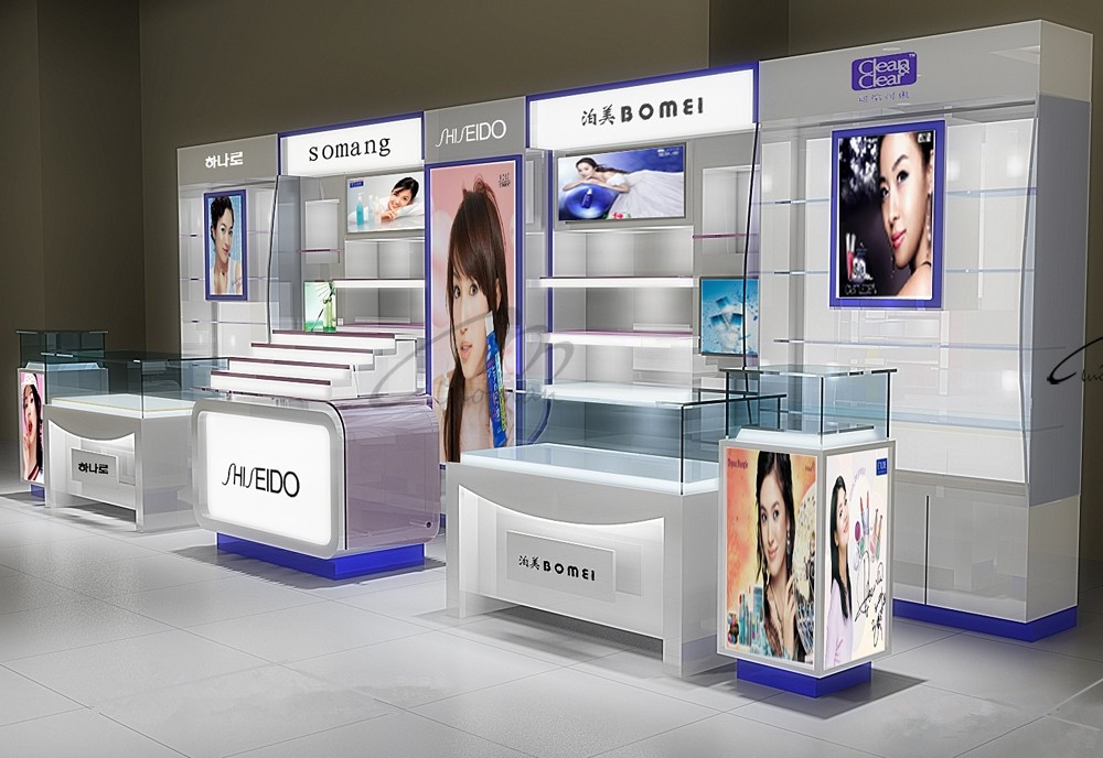 Cosmetic Exhibition Stand Design : High end store wooden stand cosmetic display unit for
