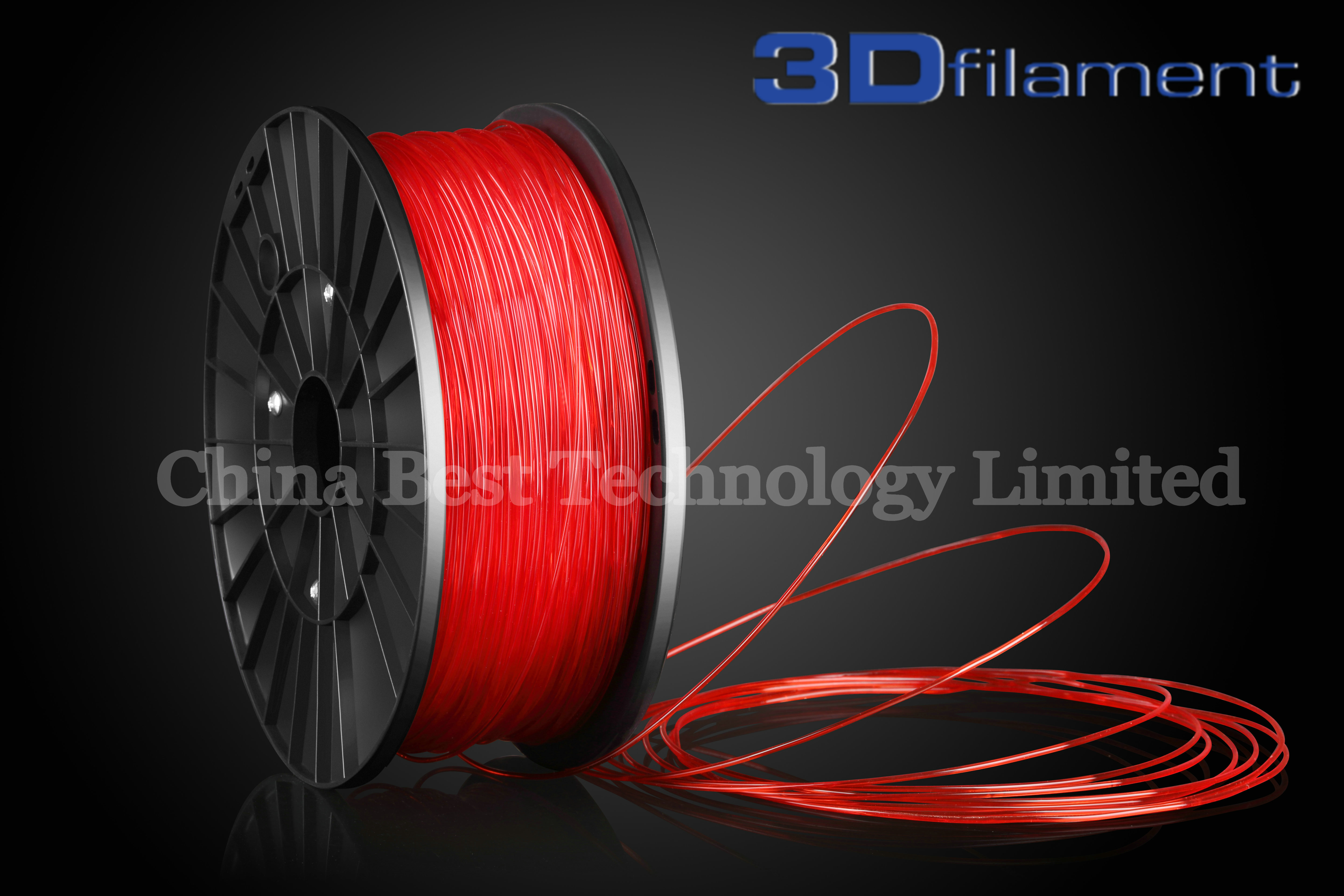 3D Printer Filament PLA 1.75mm Transparent Red