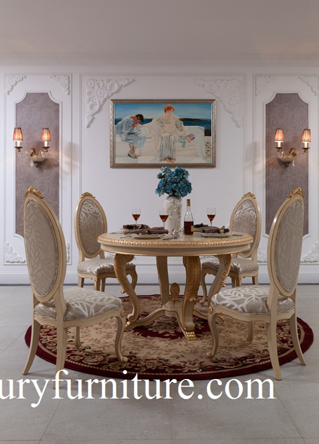 Dining table and chairs neo classical dining room sets glass cabinet buffet cabinet FT-102