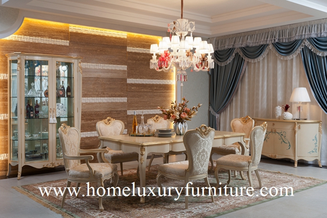 Wooden Dining table and chairs luxury dining room sets glass cabinet buffet cabinet FT101