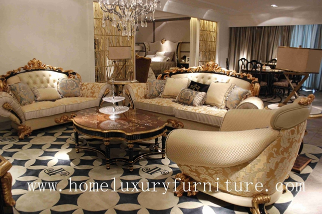 Luxury Living Room Furniture Sofa Sets Italy Style Antique Europe Style Royal Date Sofa Wood And