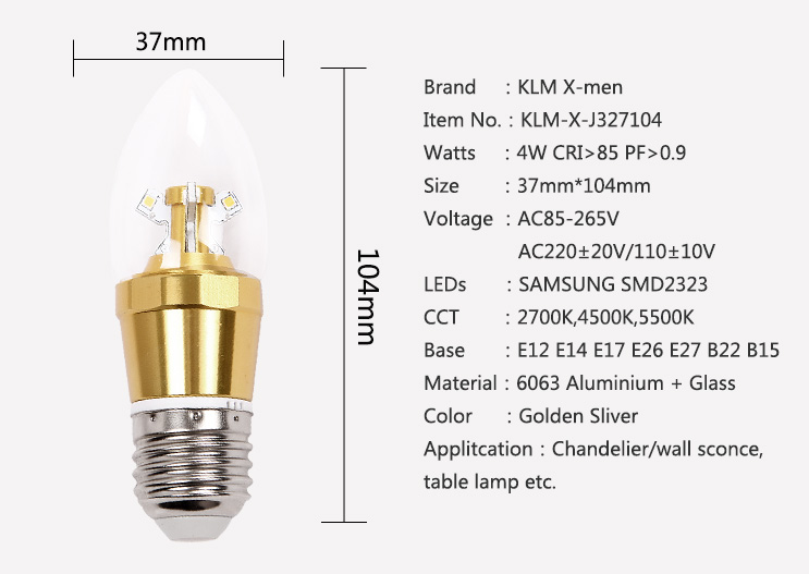 220V GLASS E27  Base 4W SMD High Lumen C37 LED Candle Bulb