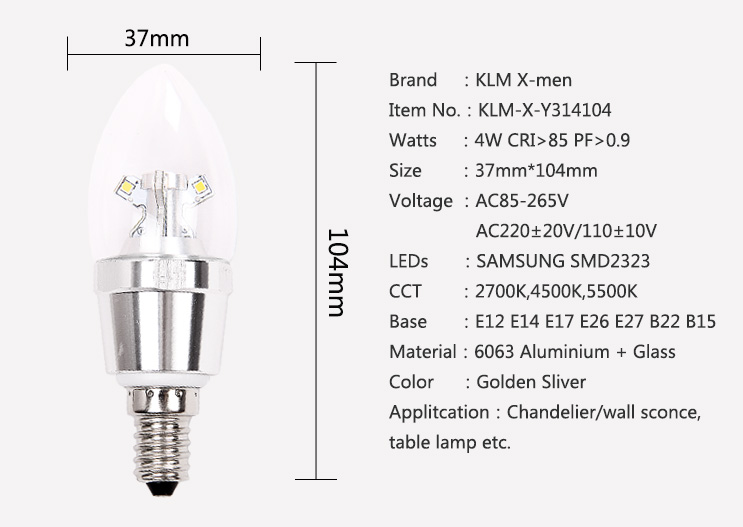 360 degree dimmable  4w E14 bulb led candle light buld