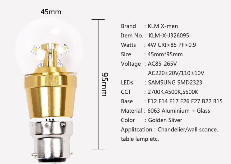 igh quality C37 4W led B22 candle bulb