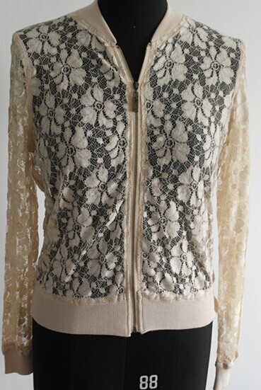 Fashion Women Zipper Lace Cardigan Sweater