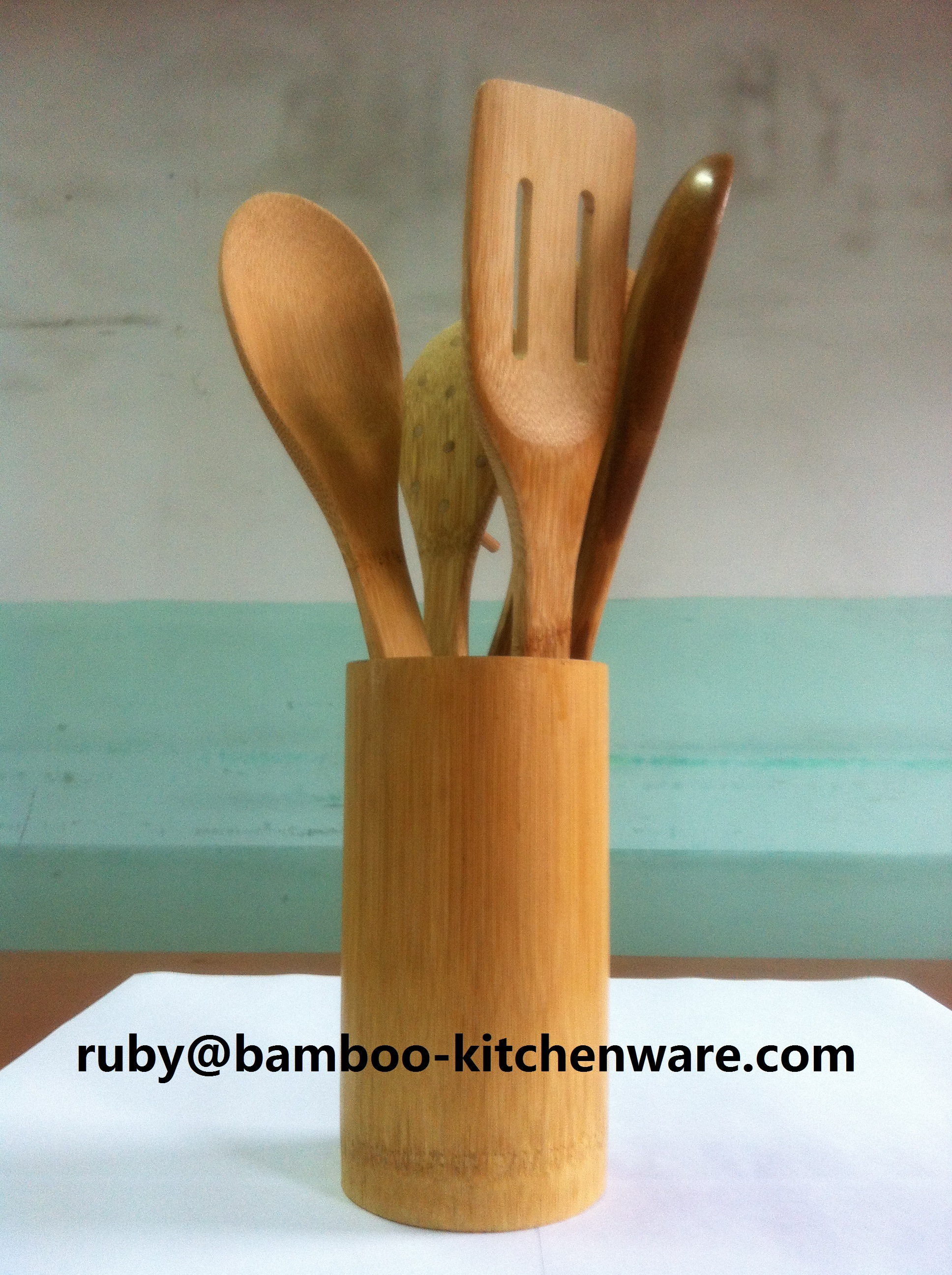 6 Bamboo Wooden Spoons and Kitchen Tools Spatula Set