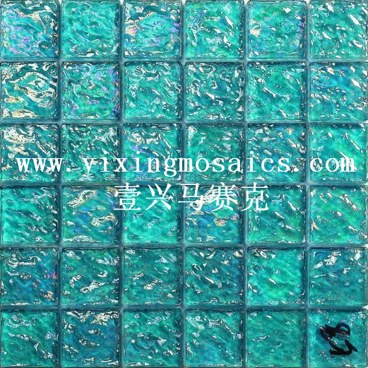 blue  colour water ripple glass mosaic tile for pool decor or wall
